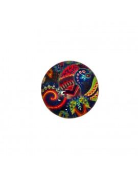 Cabochon en verre décoré motifs multicolores 18 mm