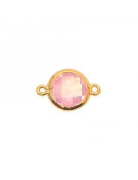 Intercalaire en verre facetté rose pâle et doré 11x17 mm
