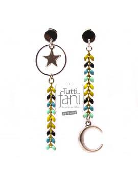 Boucles d'oreilles asymétriques chaine épi, lune et étoile