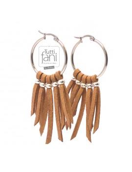 Boucles d'oreilles créoles à franges camel