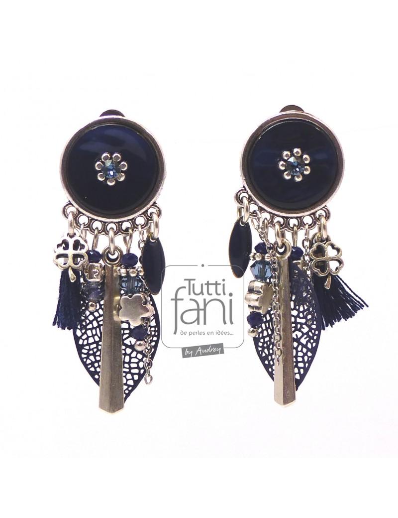 boucles d'oreilles clips bleu