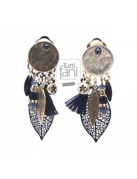 Boucles d'oreilles clips argent-bleu marine à breloques