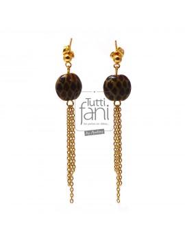 Boucles d'oreilles perles léopard et chaines doré