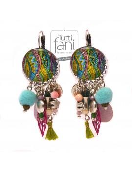 Boucles d'oreilles cabochons et breloques colorés