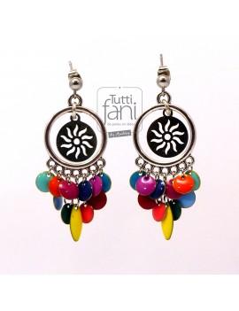 Boucles d'oreilles colorées soleils et émaillés