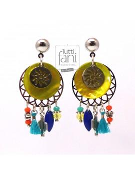 Boucles d'oreilles à breloques colorées et soleils