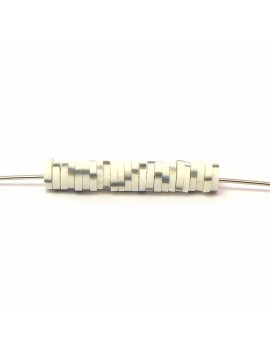 Perle Heishi blanc tacheté gris 5 mm