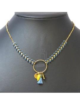 Collier chaine épi et anneau breloques bleu-kaki-moutarde