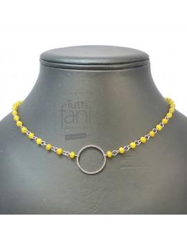 Collier anneau et chaine perlée