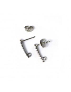 Boucles d'oreilles tiges acier inox 15 mm