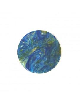 Sequin acétate turquoise-doré marbré 28 mm