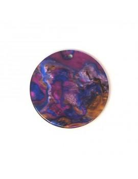 Sequin acétate bleu-violet-marron marbré 28 mm