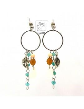 Boucles d'oreilles à breloques et anneaux beige-turquoise