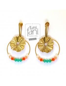 Boucles d'oreilles soleil turquoise-corail-doré