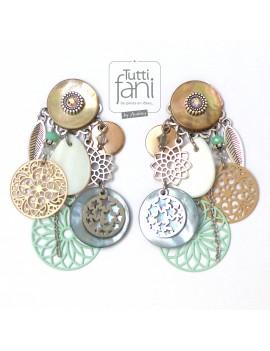 Boucles d'oreilles clips à breloques beige-bleu-vert d'eau