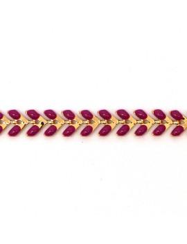Chaine épi 7 mm émaillée framboise - 1 cm