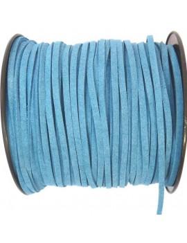 Daim 3 mm bleu canard - 50 cm