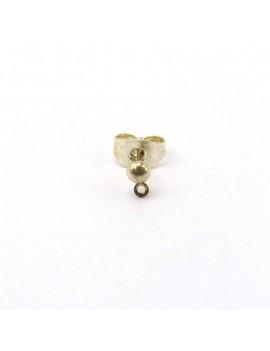 Boucles d'oreilles puces boules 3 mm argent brillant