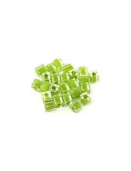Cubes Miyuki 4 mm vert pomme - 5 grs