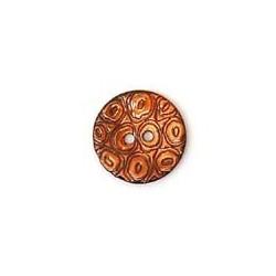 Bouton en nacre gravé dessin rond marron clair 17 mm