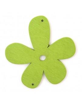Fleur en bois 56 mm 2 trous vert