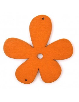 Fleur en bois 56 mm 2 trous orange