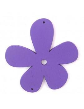 Fleur en bois 56 mm 2 trous violet