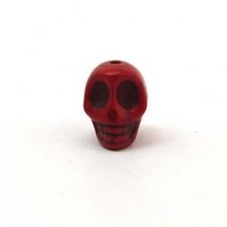 Perle tête de mort 12 mm rouge