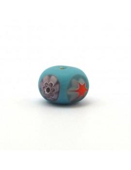 Perle aplatie bleue 10x14 mm