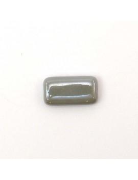 Perle rectangulaire plate grise foncée 8x15 mm