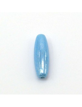 Perle allongée bleue 7x22 mm