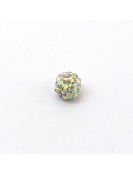 Perle strass 8 mm cristal AB