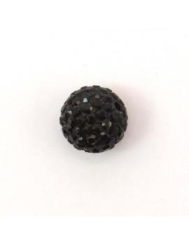 Perle strass 12 mm noir