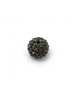 Perle strass 12 mm gris
