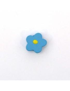 Perle bois fleur bleu 15 mm