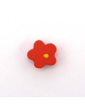 Perle bois fleur rouge 15 mm