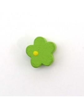 Perle bois fleur vert 15 mm