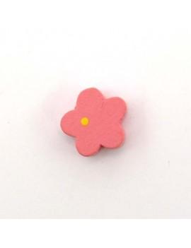 Perle bois fleur rose 15 mm