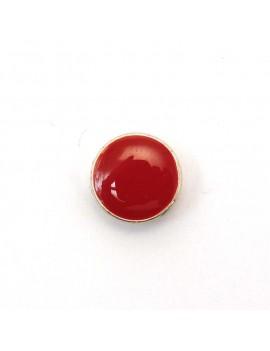 Passant rond argent vieilli émaillé rouge 12 mm
