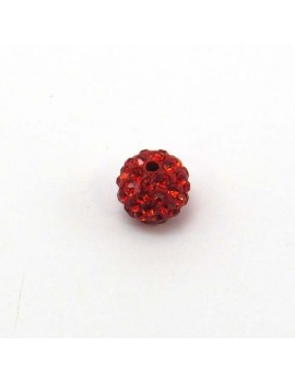 Perle strass 10 mm rouge