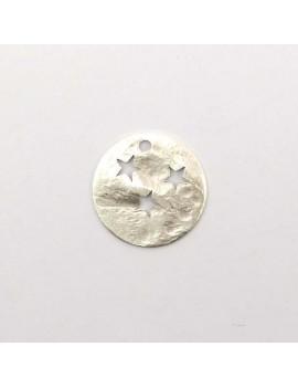 Sequin martelé ajouré étoiles argent vieilli 15 mm