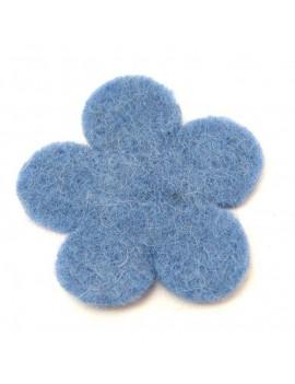 Fleur en feutrine bleu 60 mm