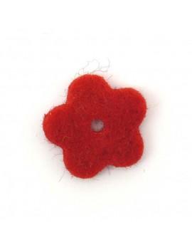Fleur en feutrine rouge 20 mm