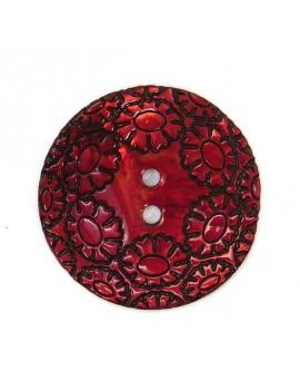 Bouton en nacre gravé rouge...