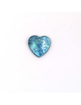 Pendentif nacre coeur bleu...