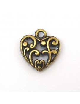 Coeur antique bronze 18 mm