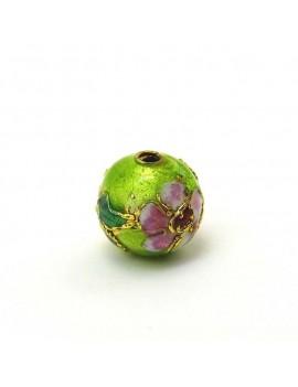 Perle cloisonnée 10 mm vert...