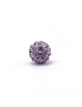 Perle strass 10 mm violet