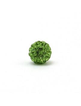 Perle strass 10 mm vert