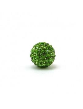Perle strass 12 mm vert